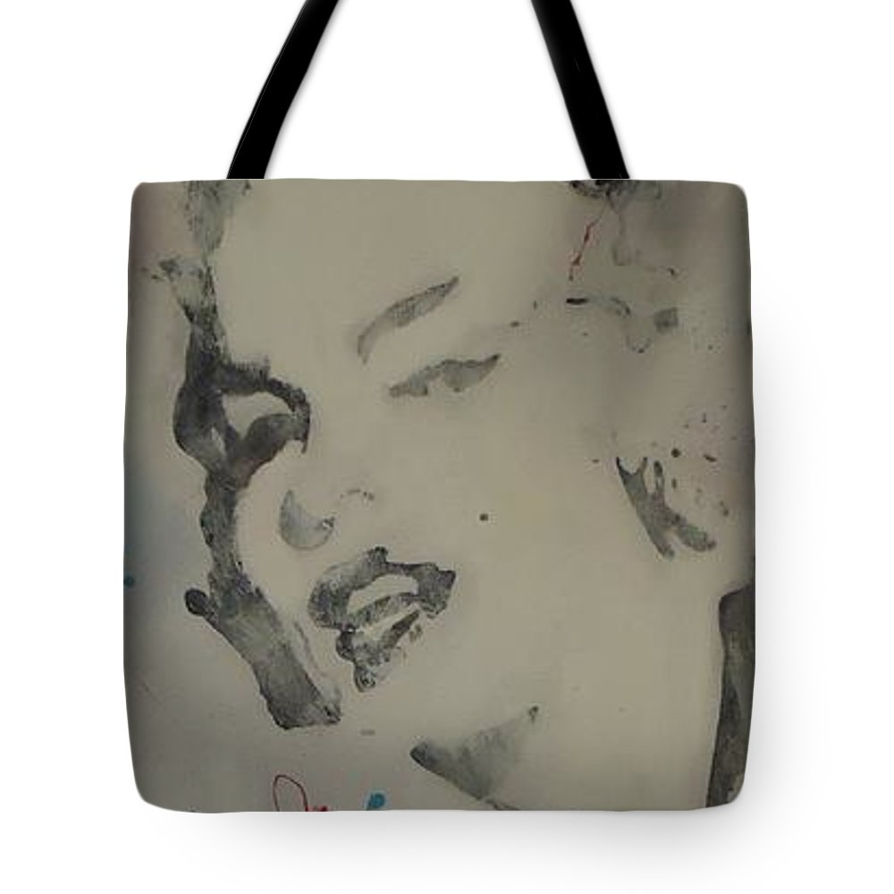 Pop Tote Bag featuring the painting Marilyn Pink by Nick Mantlo-Coots