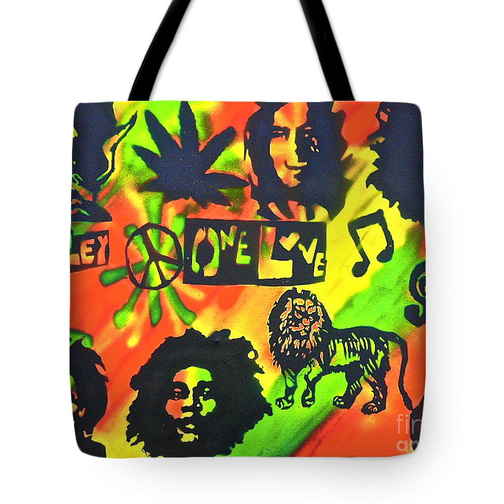 Hip Hop Tote Bag featuring the painting Marley Forever by Tony B Conscious