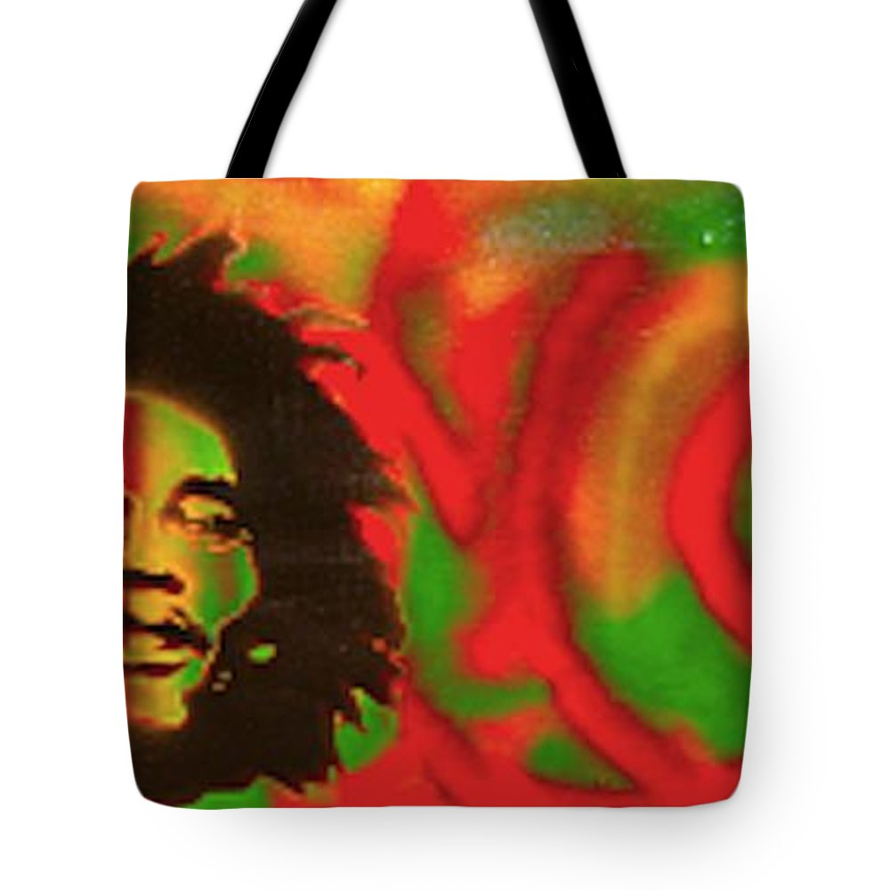 Hip Hop Tote Bag featuring the painting Marley Love by Tony B Conscious