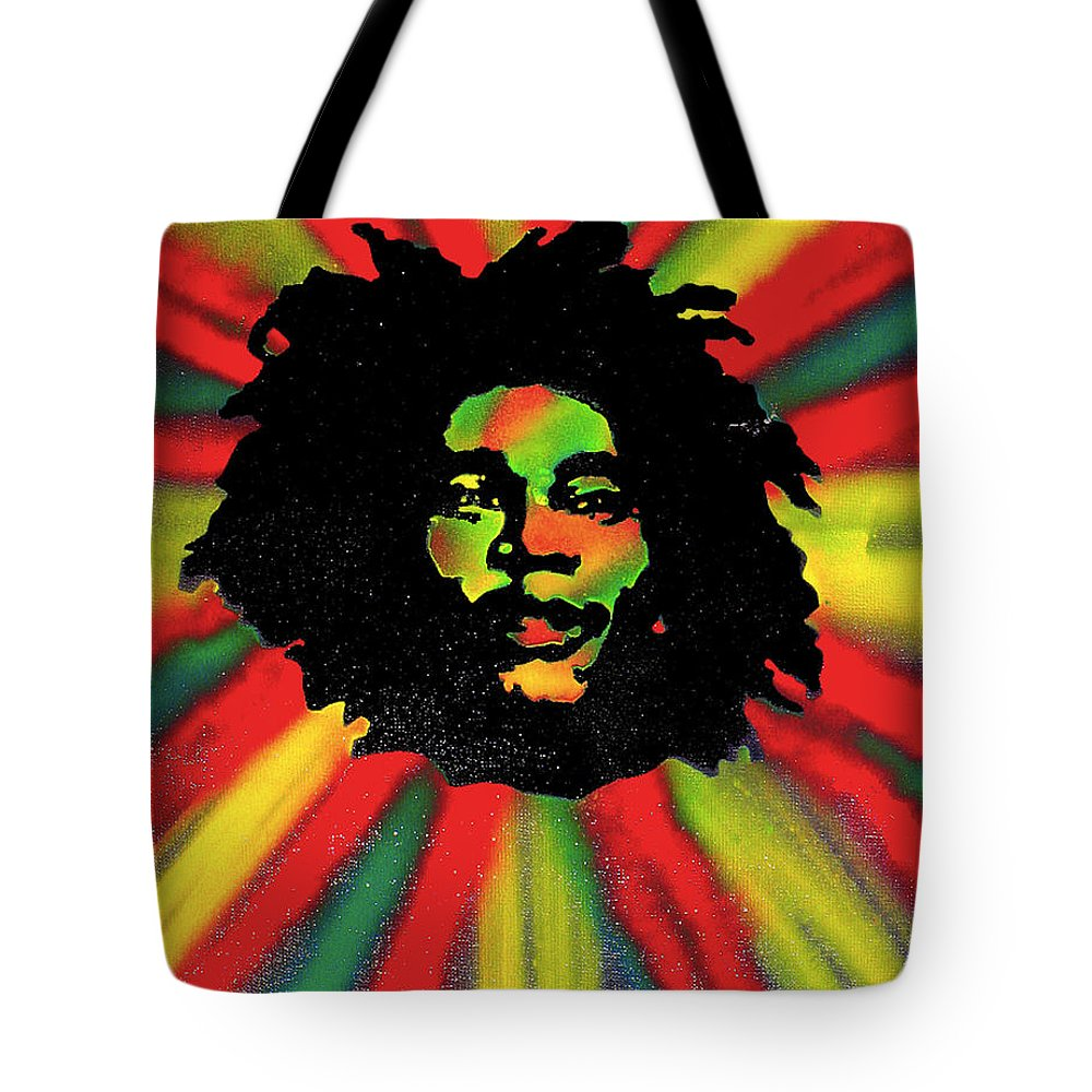 Hip Hop Tote Bag featuring the painting Marley Starburst by Tony B Conscious