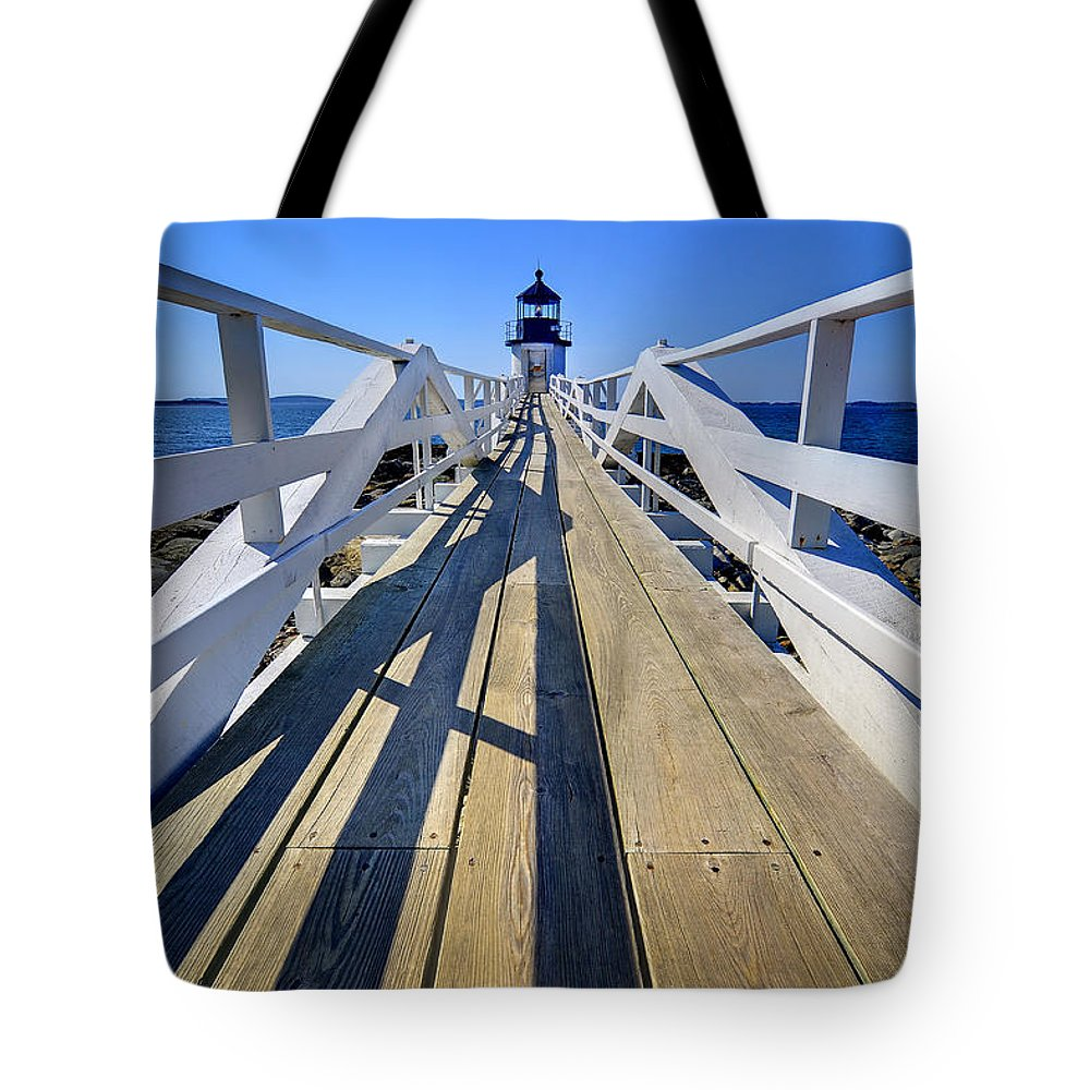 Lighthouse Tote Bag featuring the photograph Marshal Point Lighthouse Walkway by Jack Daulton
