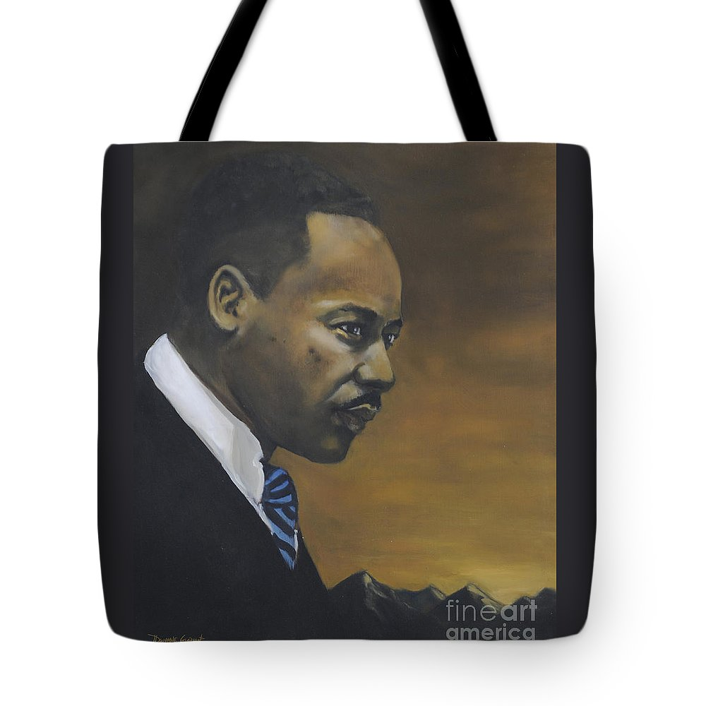 Martin Luther King Tote Bag featuring the painting Martin Luther King Jr - From The Mountaintop by Dwayne Glapion