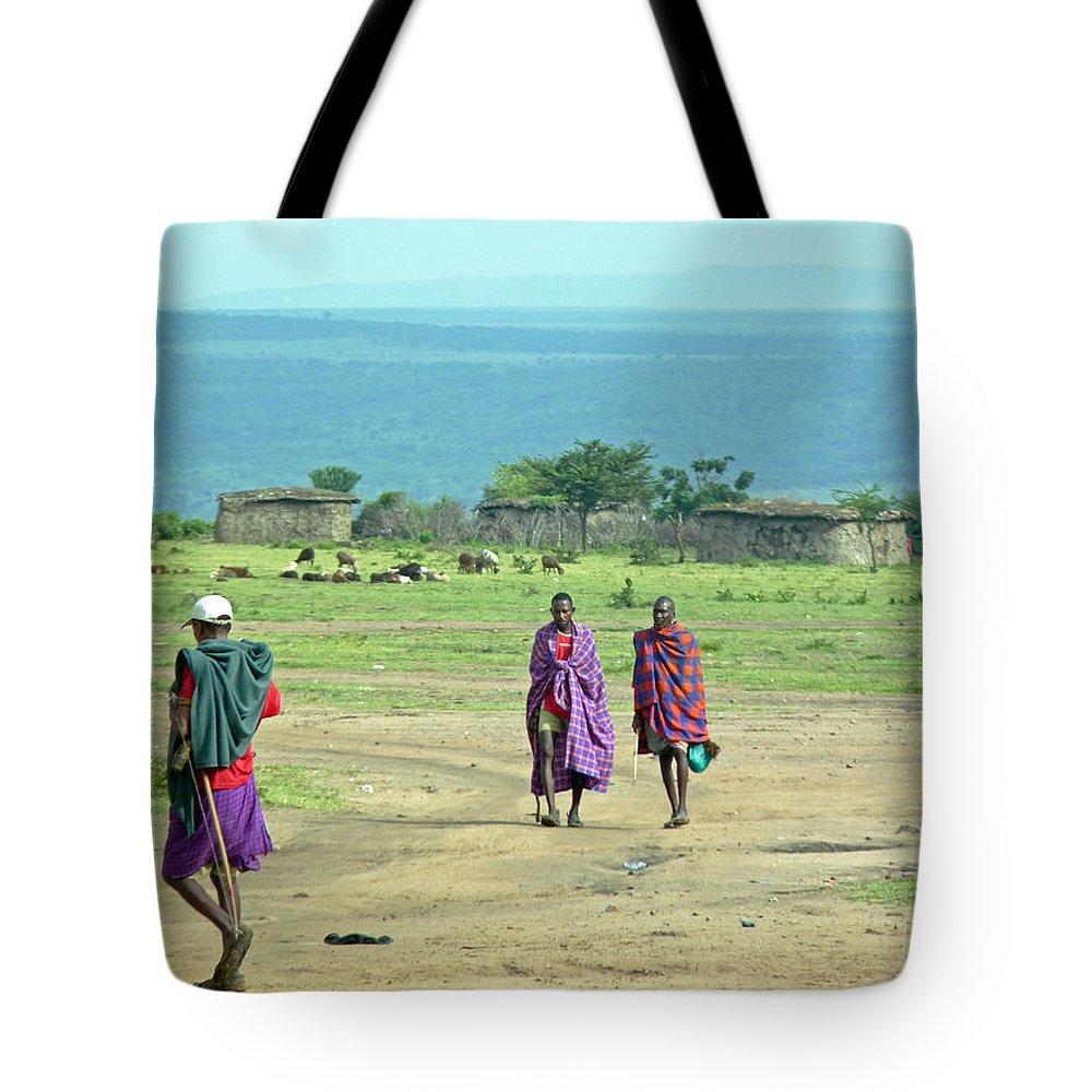 Masai Mara Tote Bag featuring the photograph Masai Village by Tony Murtagh