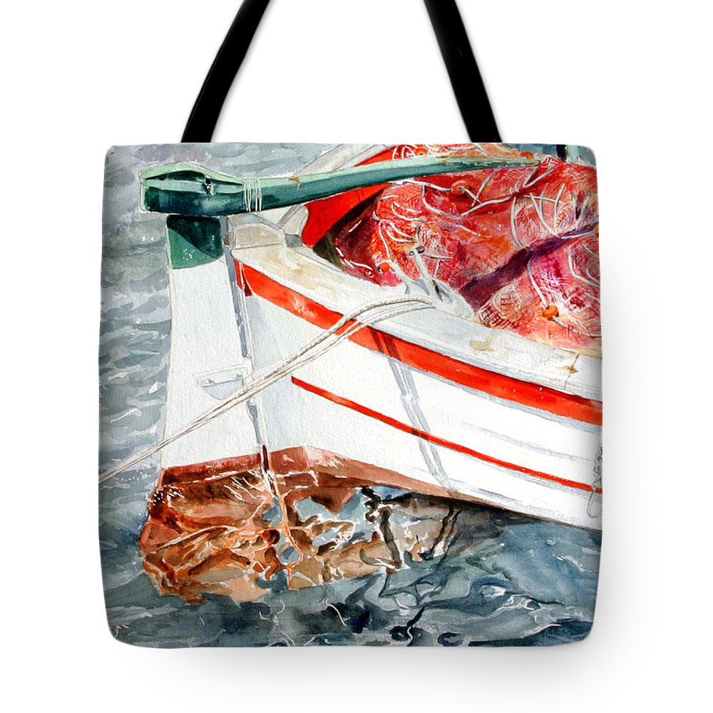 Boats Tote Bag featuring the painting Matricola 2ca 970 by Giovanni Marco Sassu