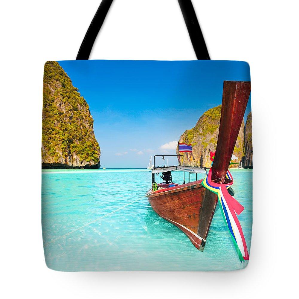 Maya Tote Bag featuring the photograph Maya Bay by MotHaiBaPhoto Prints