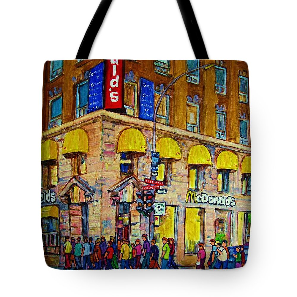 Mcdonald Restaurant Montreal Tote Bag featuring the painting Mcdonald by Carole Spandau