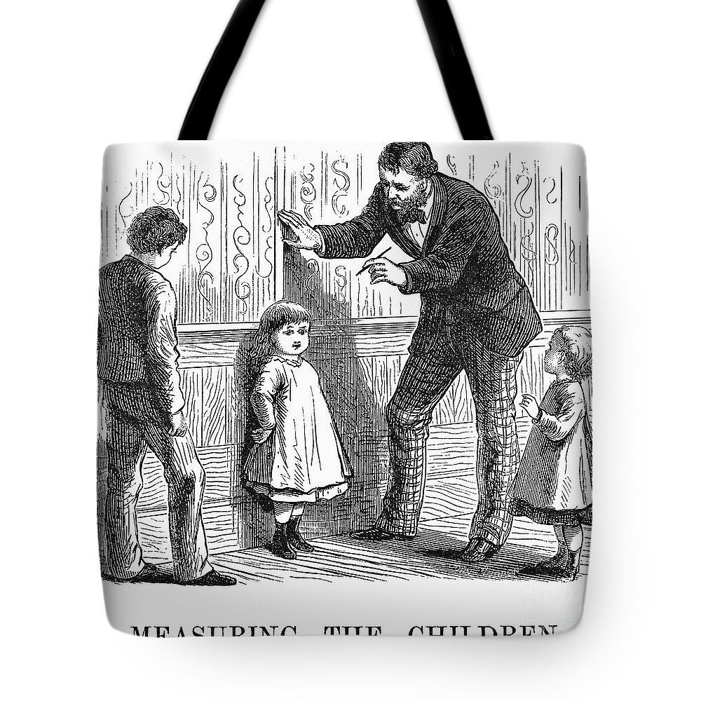1876 Tote Bag featuring the photograph Measuring Children, 1876 by Granger