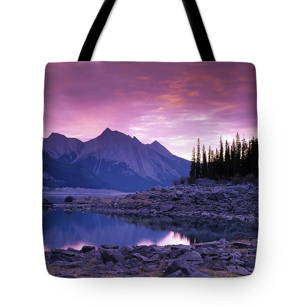 Light Tote Bag featuring the photograph Medicine Lake, Jasper National Park by Darwin Wiggett