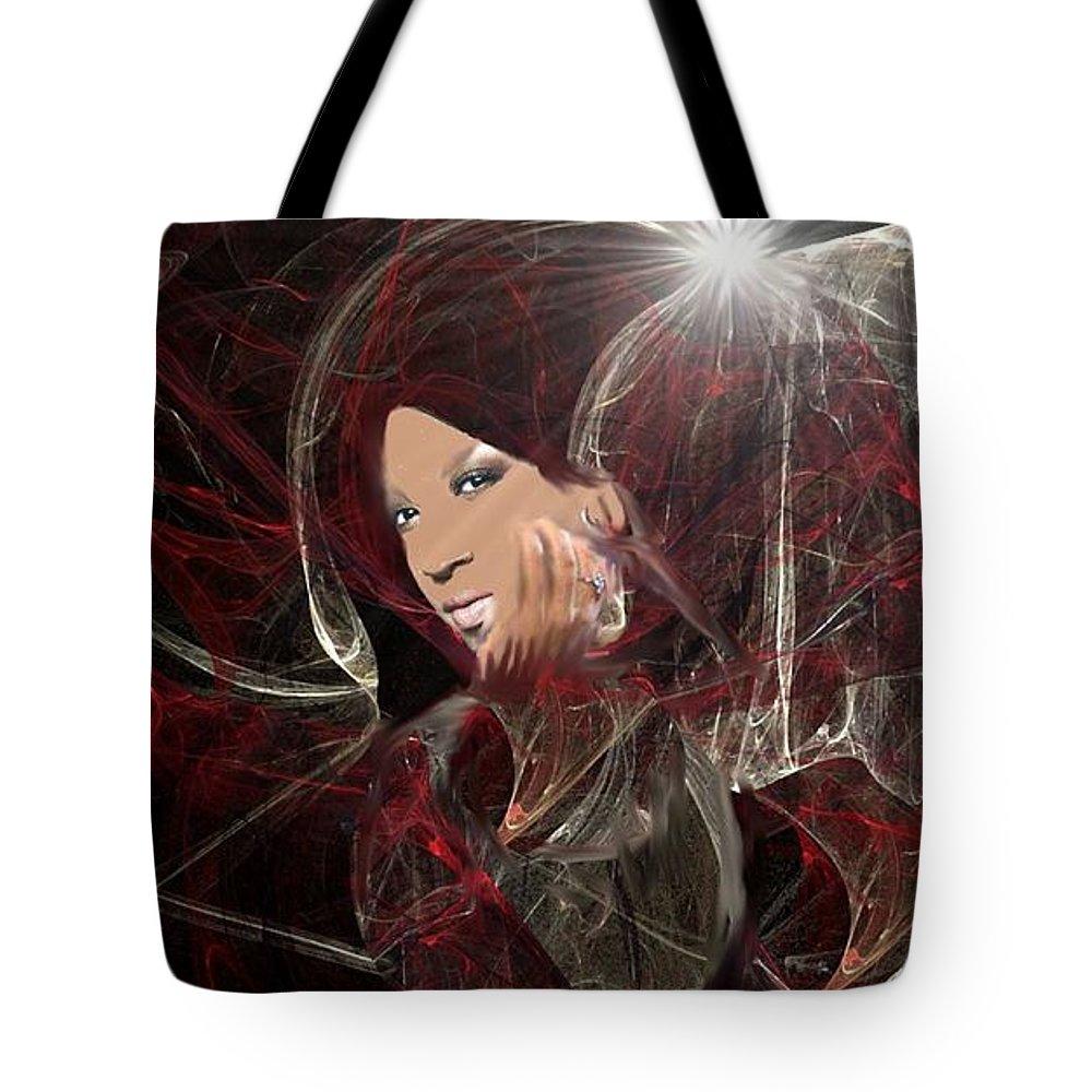 Xfactor Tote Bag featuring the digital art Melanie Amaro by Kelly Turner