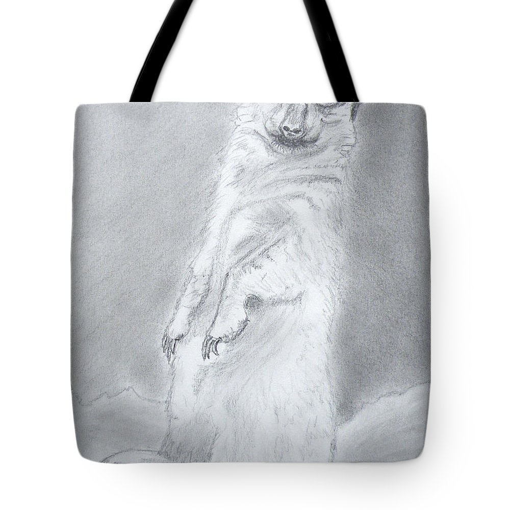 Drawings Tote Bag featuring the drawing Merkat On Duty by Gilbert Pennison