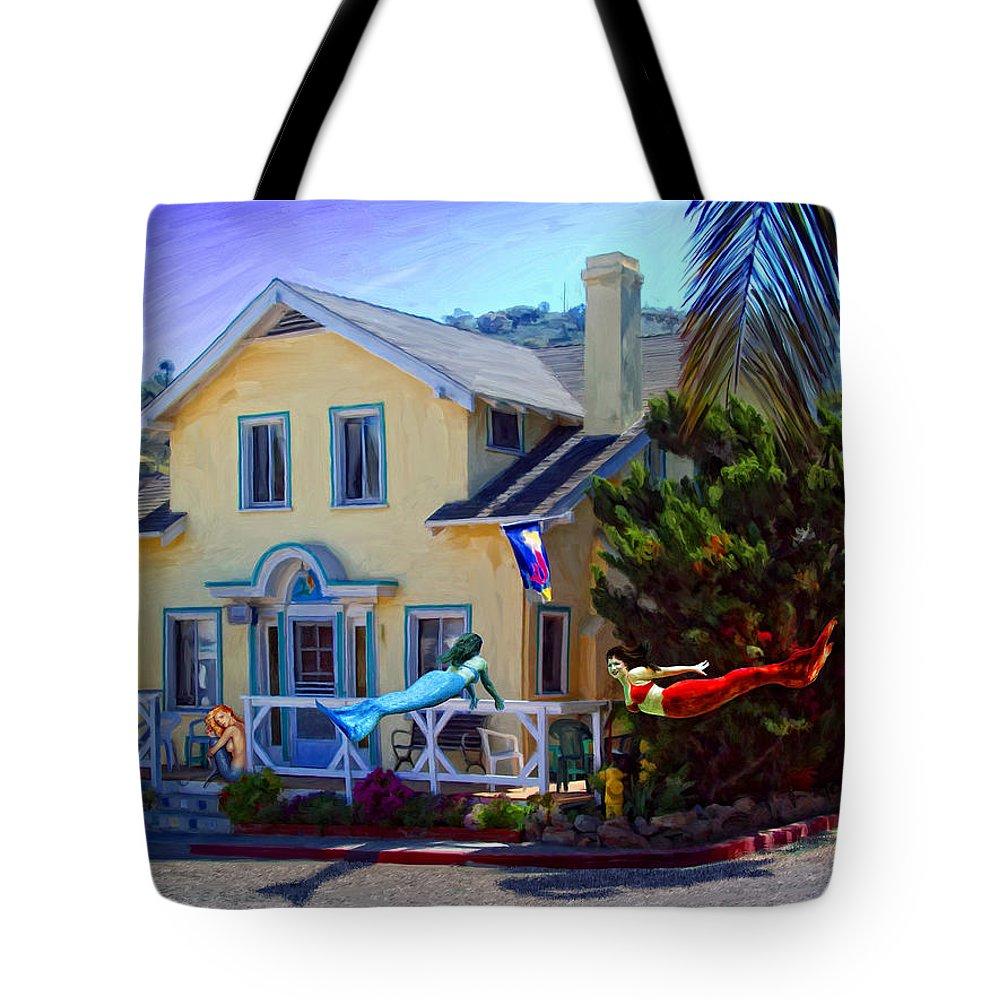 Mermaid Tote Bag featuring the digital art Mermaid House by Snake Jagger