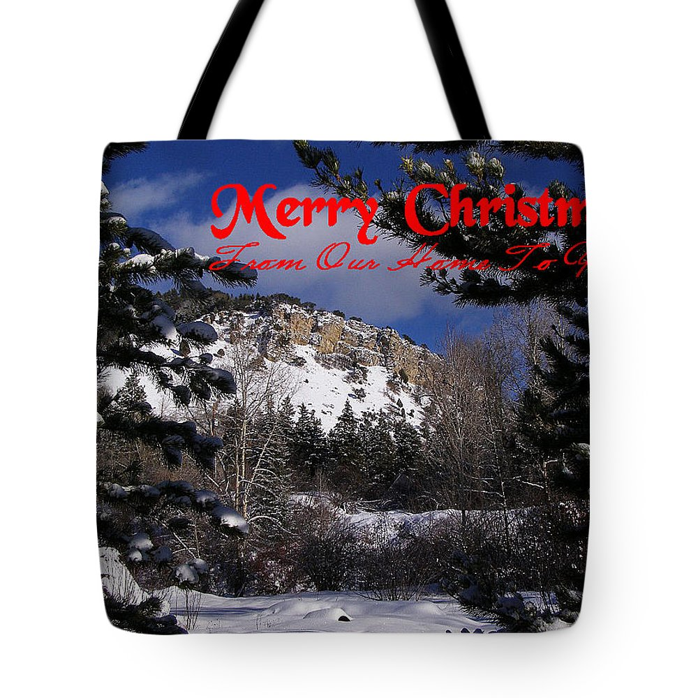 Christmas Cards Tote Bag featuring the photograph Merry Christmas From Our Home To Yours by DeeLon Merritt