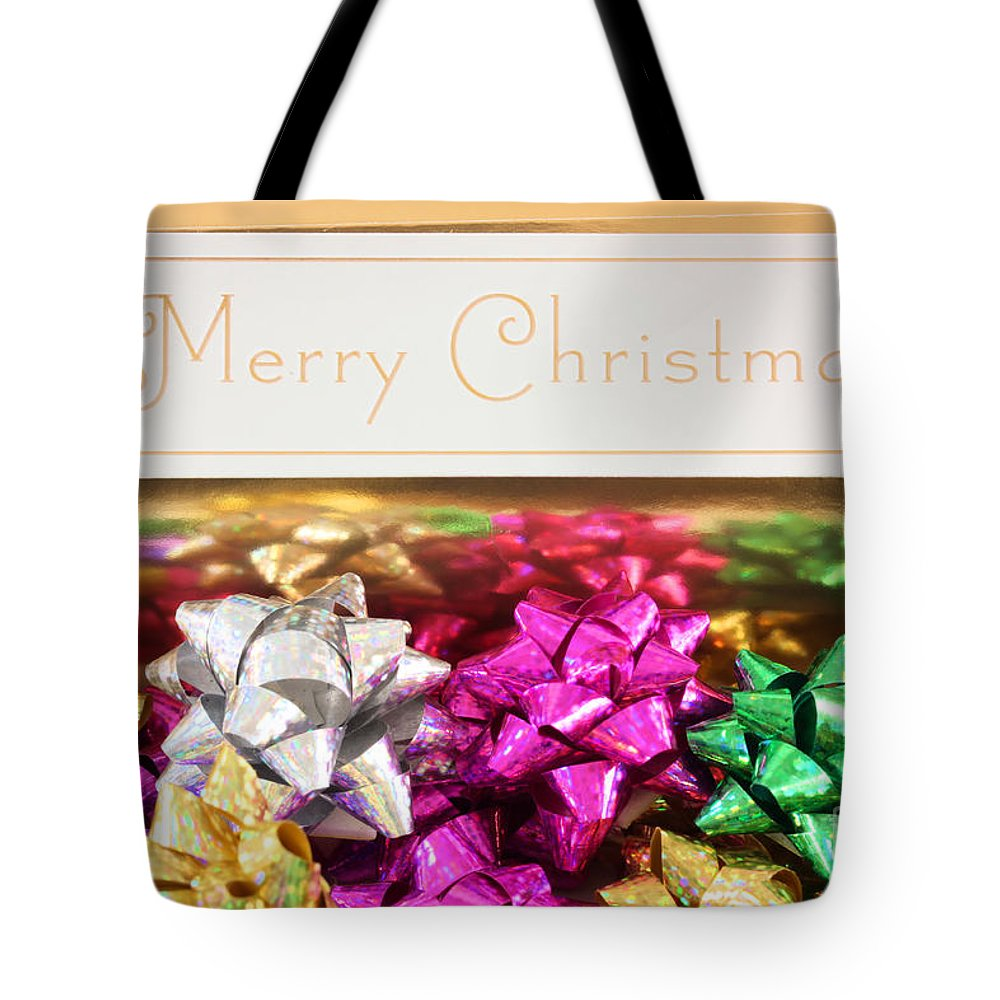 Bow Tote Bag featuring the photograph Merry Christmas Message With Colourful Bows by Simon Bratt Photography LRPS