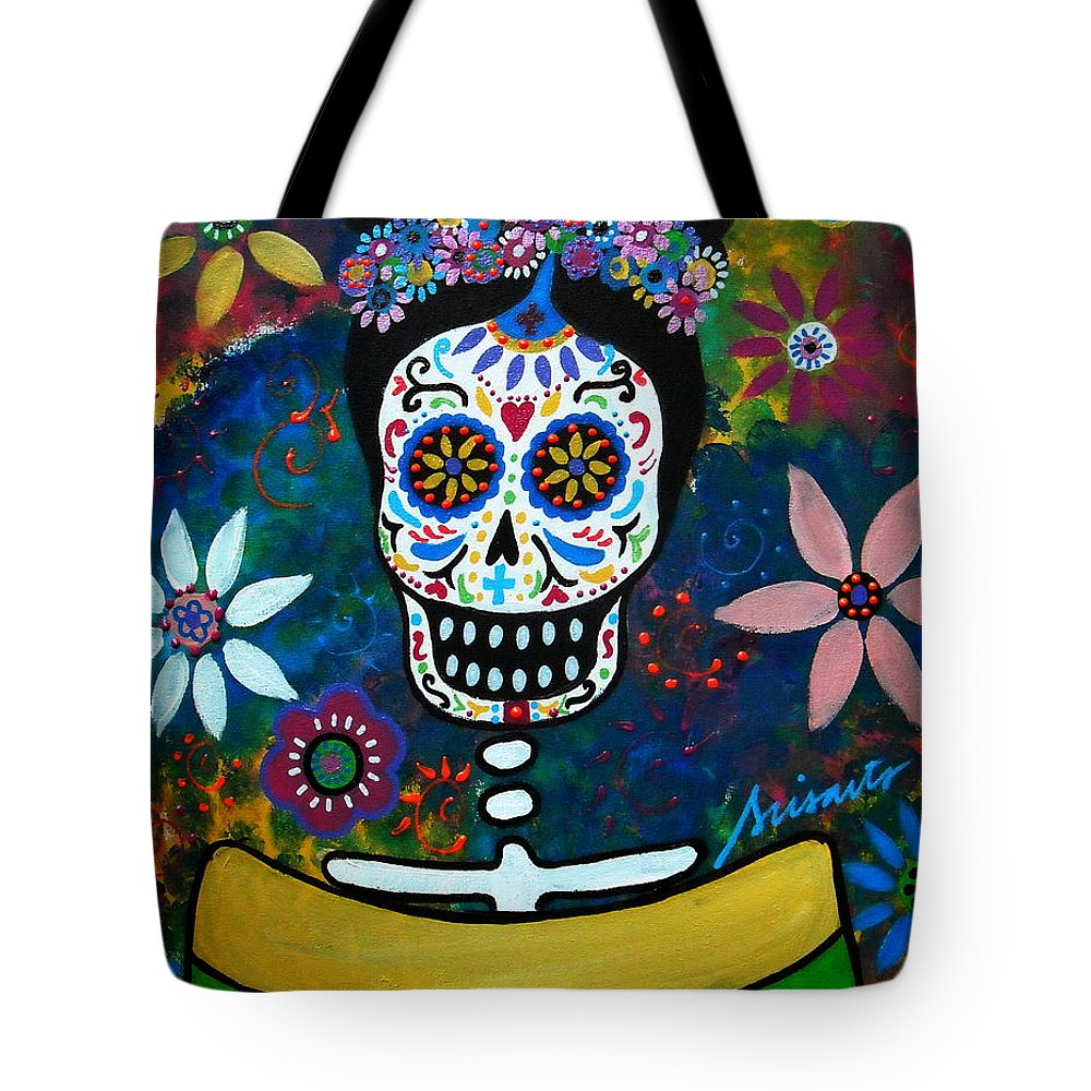 Day Of The Dead Tote Bag featuring the painting Mexican Lady by Pristine Cartera Turkus