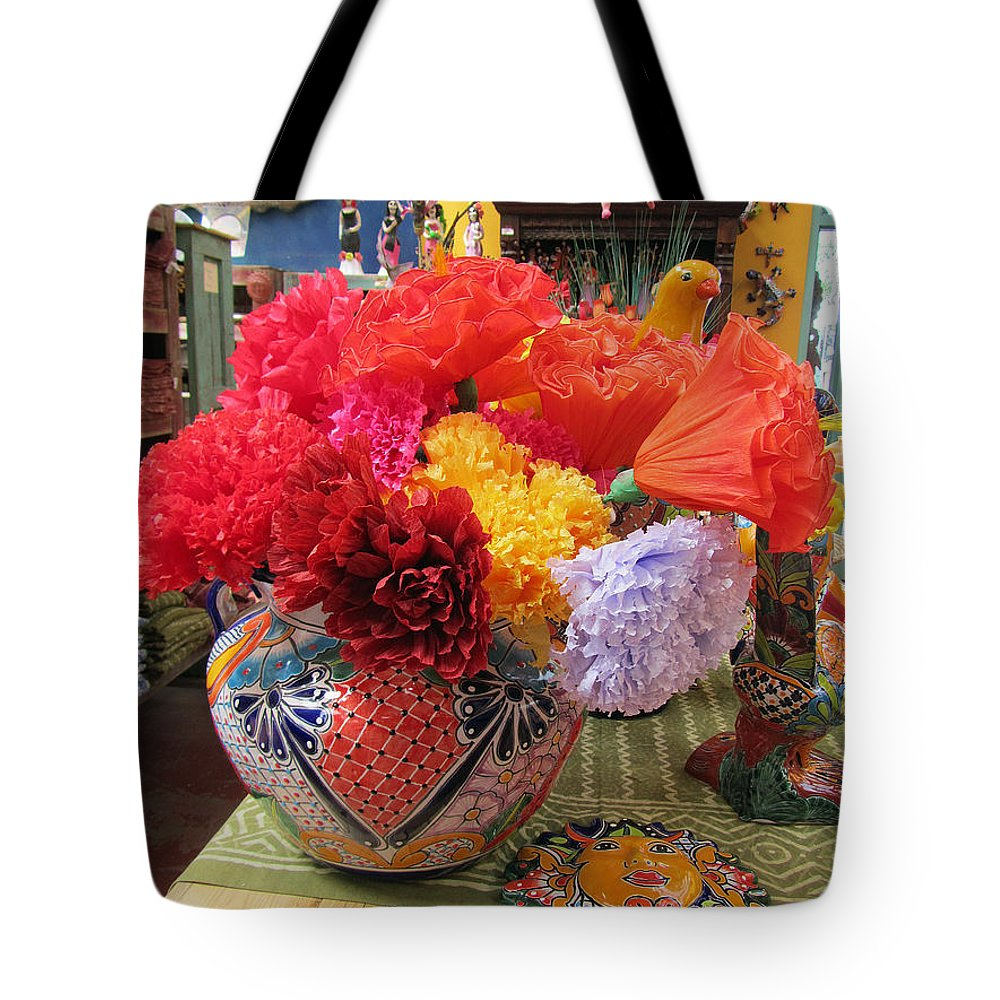 Mexican Tote Bag featuring the photograph Mexican Paper Flowers And Talavera Pottery by Elizabeth Rose