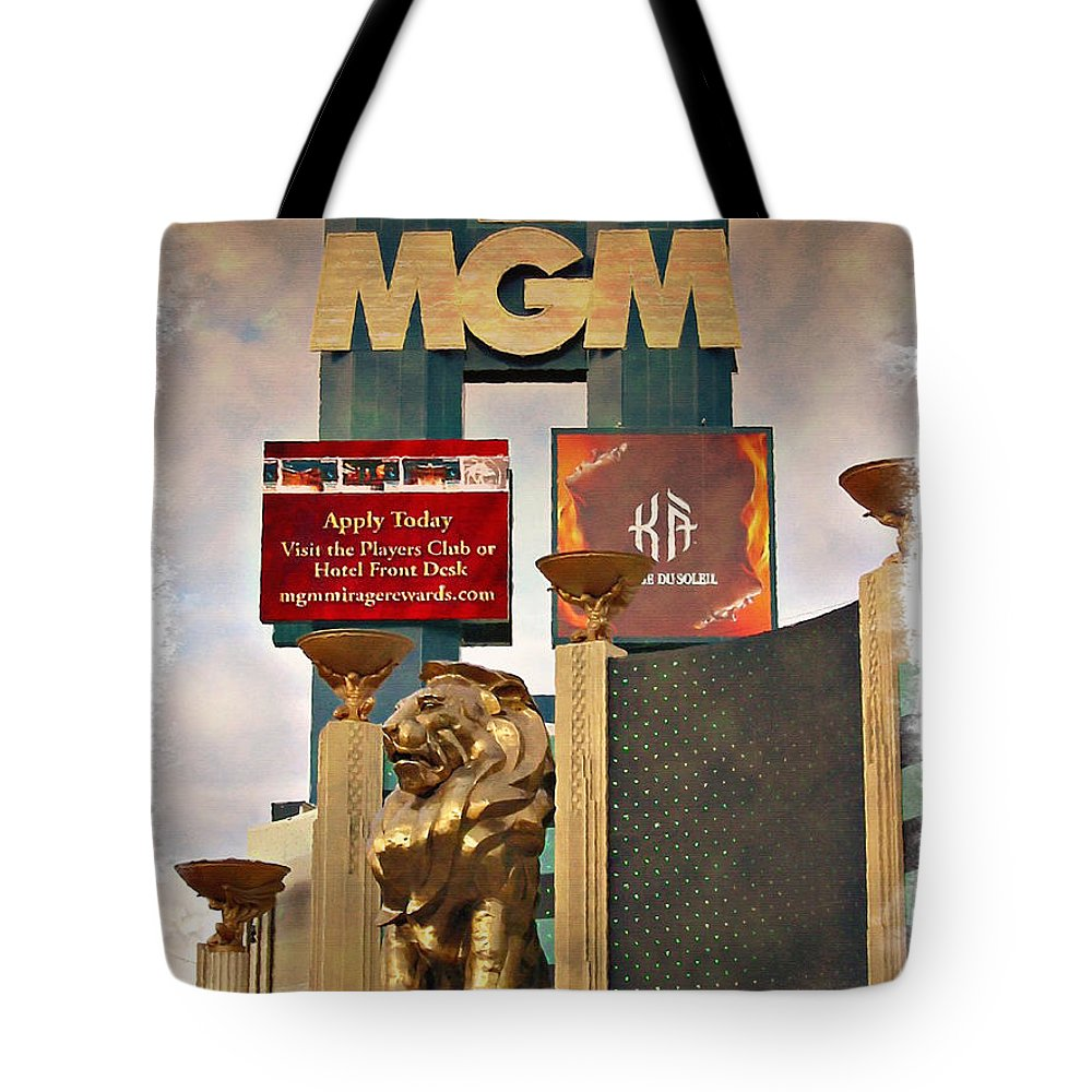Las Tote Bag featuring the photograph Mgm Marquee - Impressions by Ricky Barnard