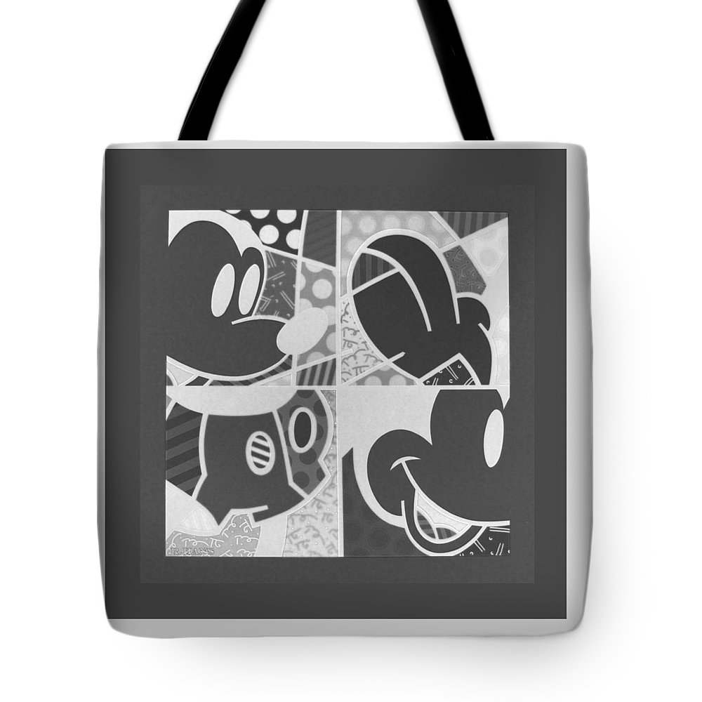 Mickey Mouse Tote Bag featuring the photograph Mickey In Negative Black And White by Rob Hans