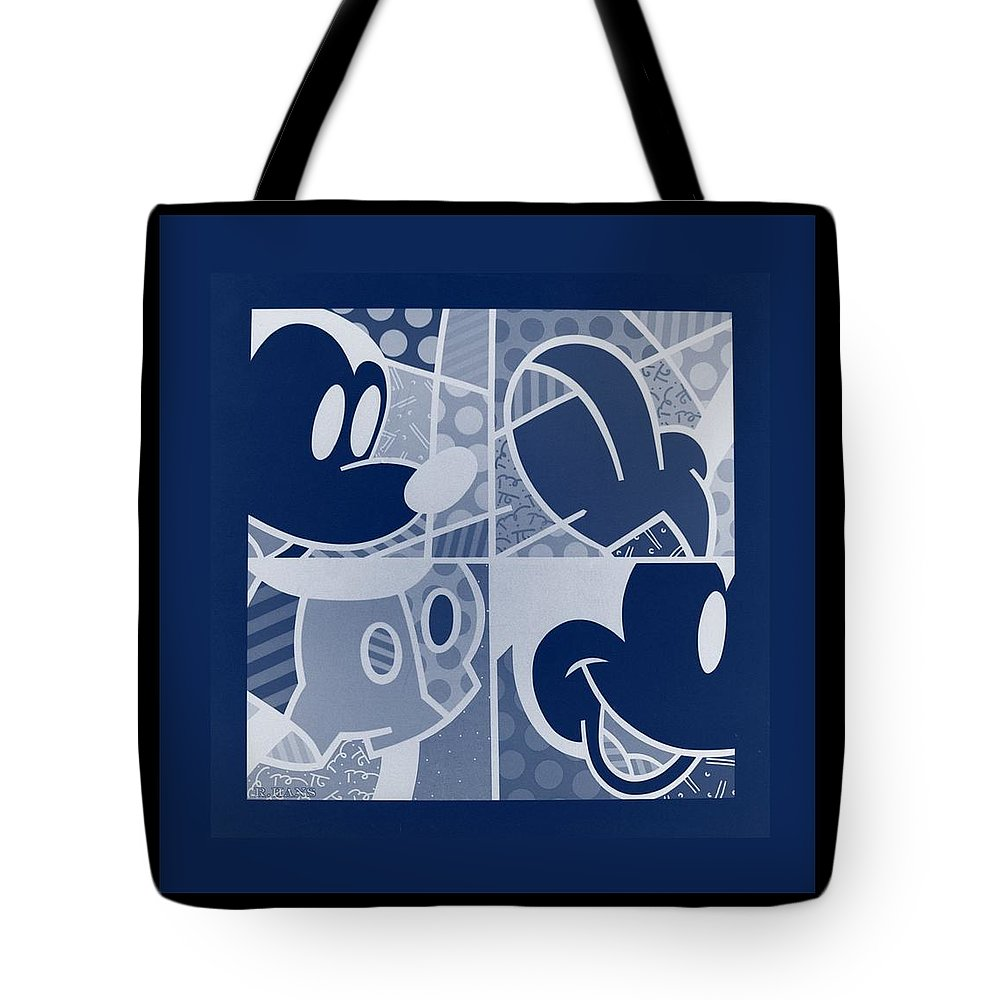 Mickey Mouse Tote Bag featuring the photograph Mickey In Negative Deep Blue by Rob Hans