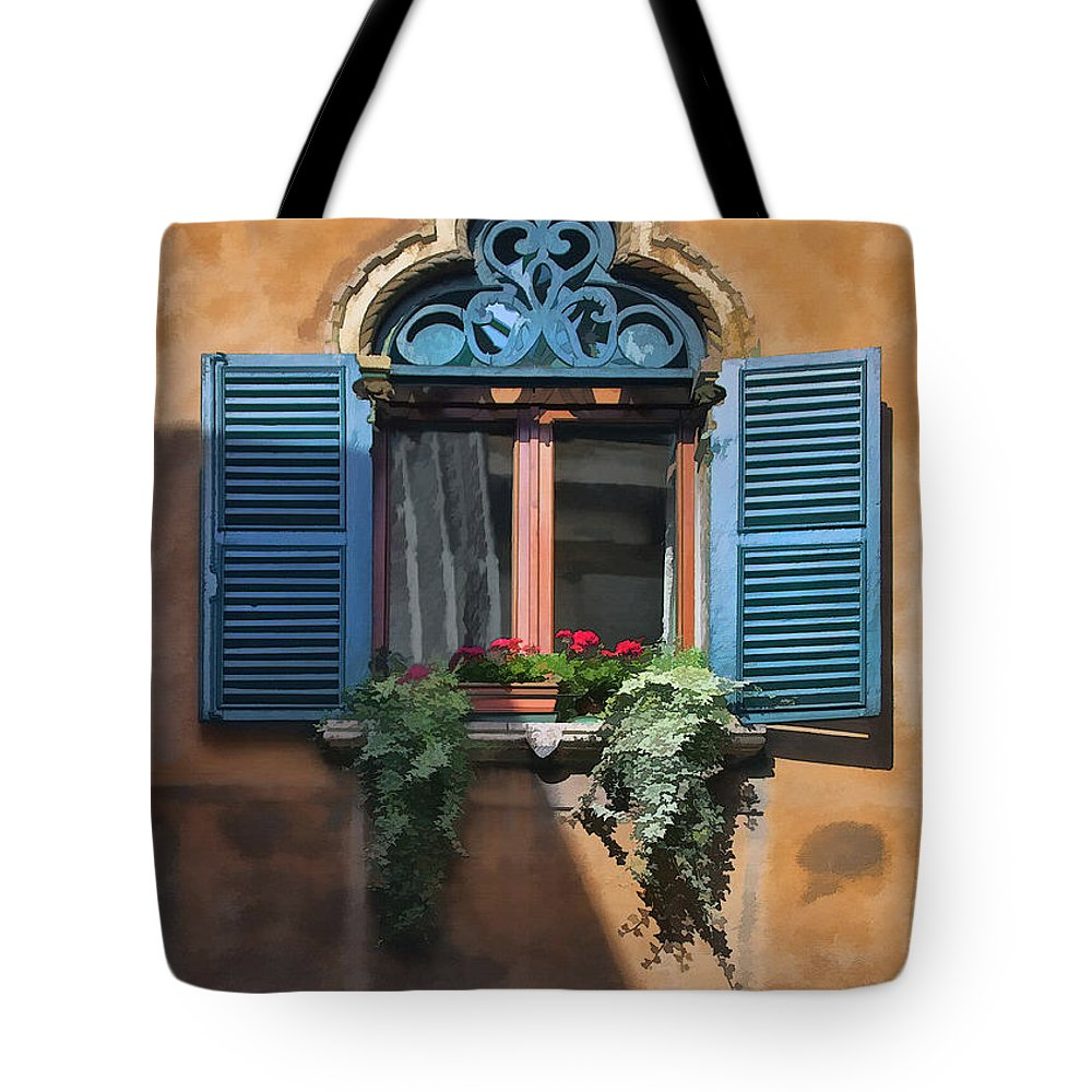 Italian Tote Bag featuring the digital art Milano Apartment Window by Sharon Foster