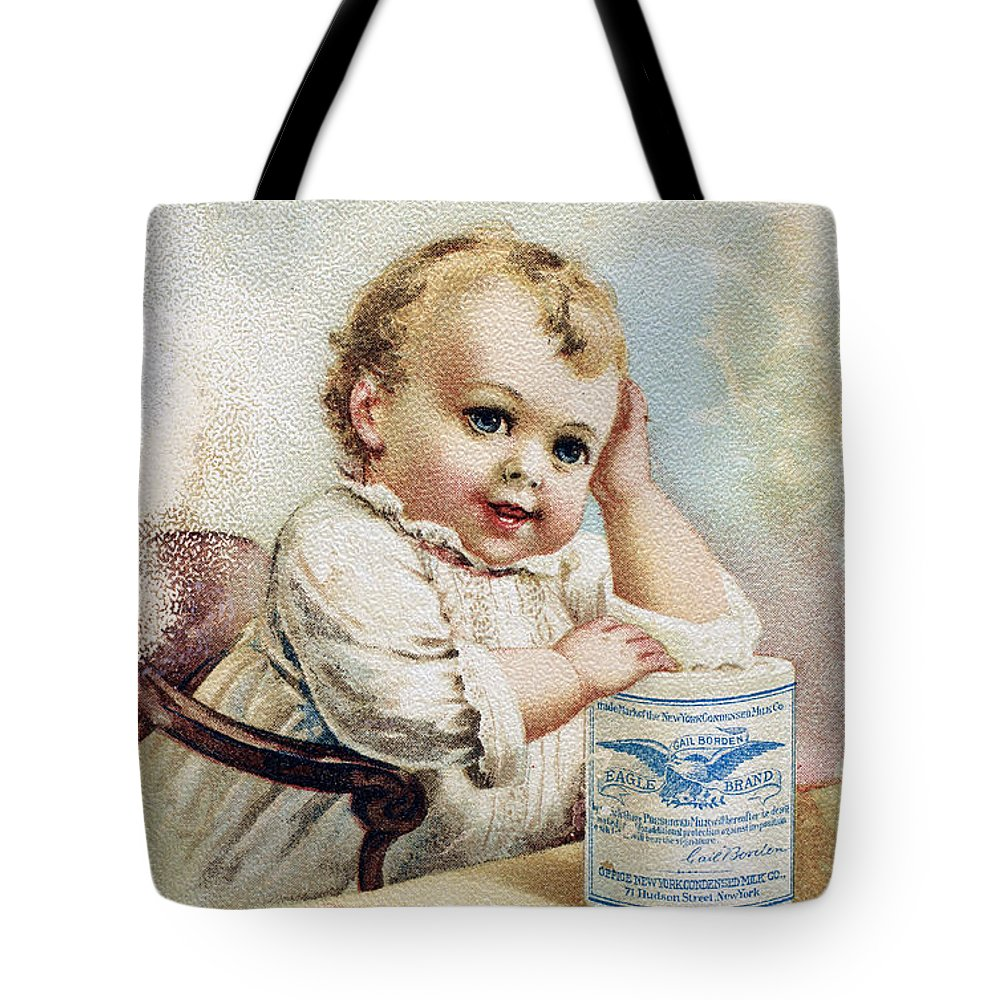 1893 Tote Bag featuring the photograph Milk Trade Card, 1893 by Granger