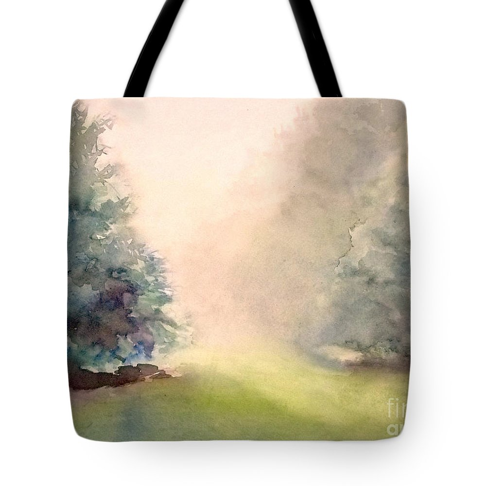 Landscape Tote Bag featuring the painting Misty Morning 2 by Yoshiko Mishina