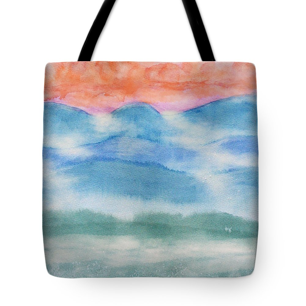 Nature Tote Bag featuring the painting Misty Morning On Blue Hills by Debbie Portwood