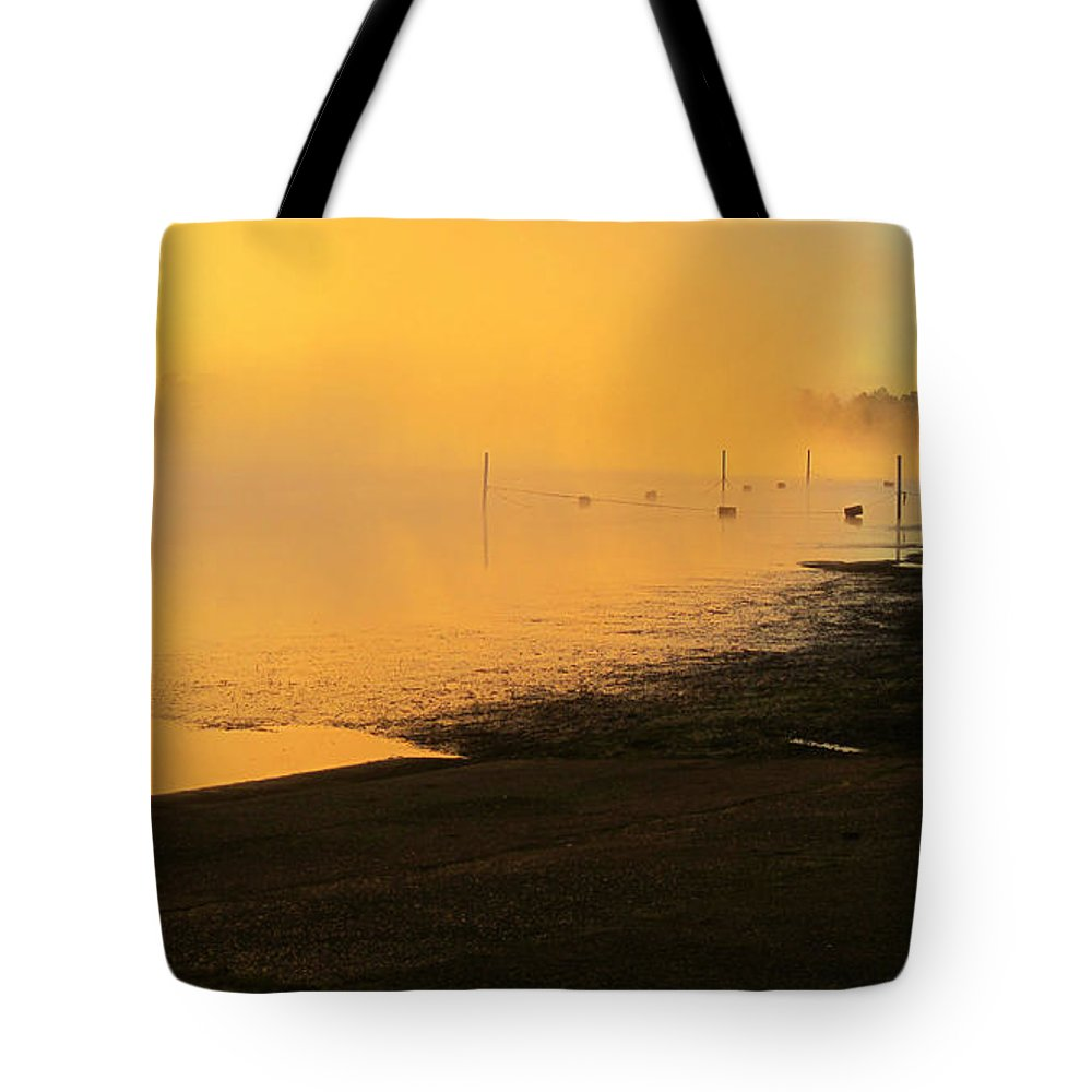 Sunrise Tote Bag featuring the photograph Misty Sunrise by Rebecca Korpita
