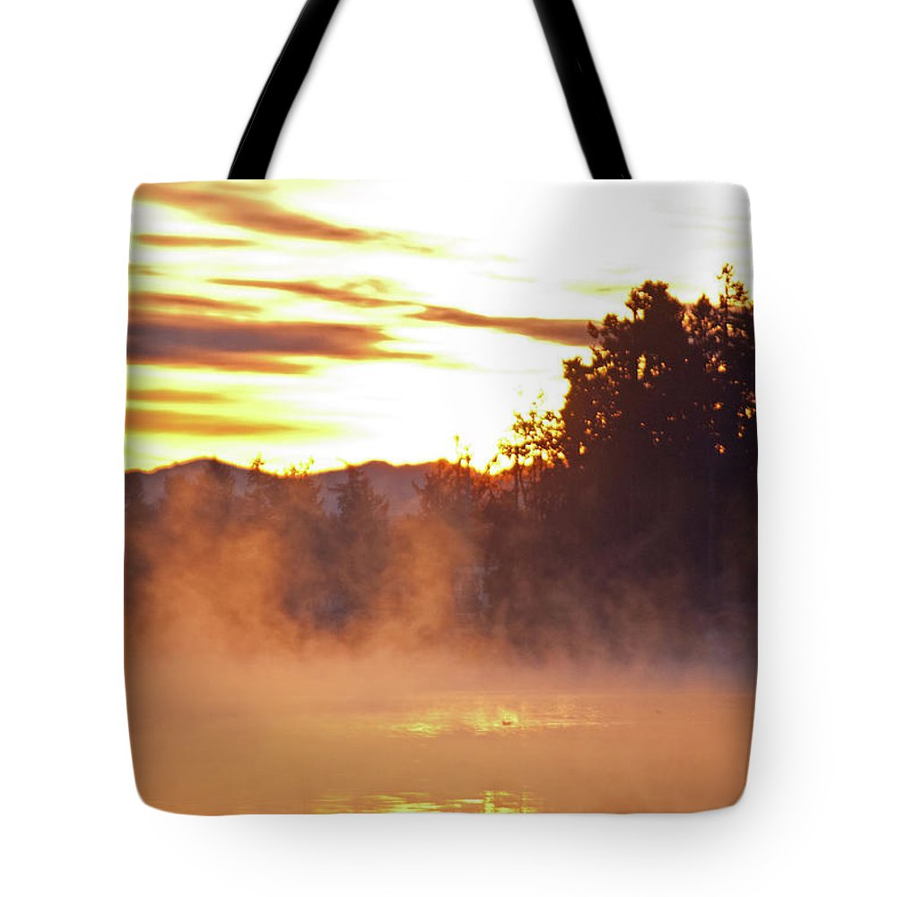 Sun Tote Bag featuring the photograph Misty Sunrise by Tikvah's Hope