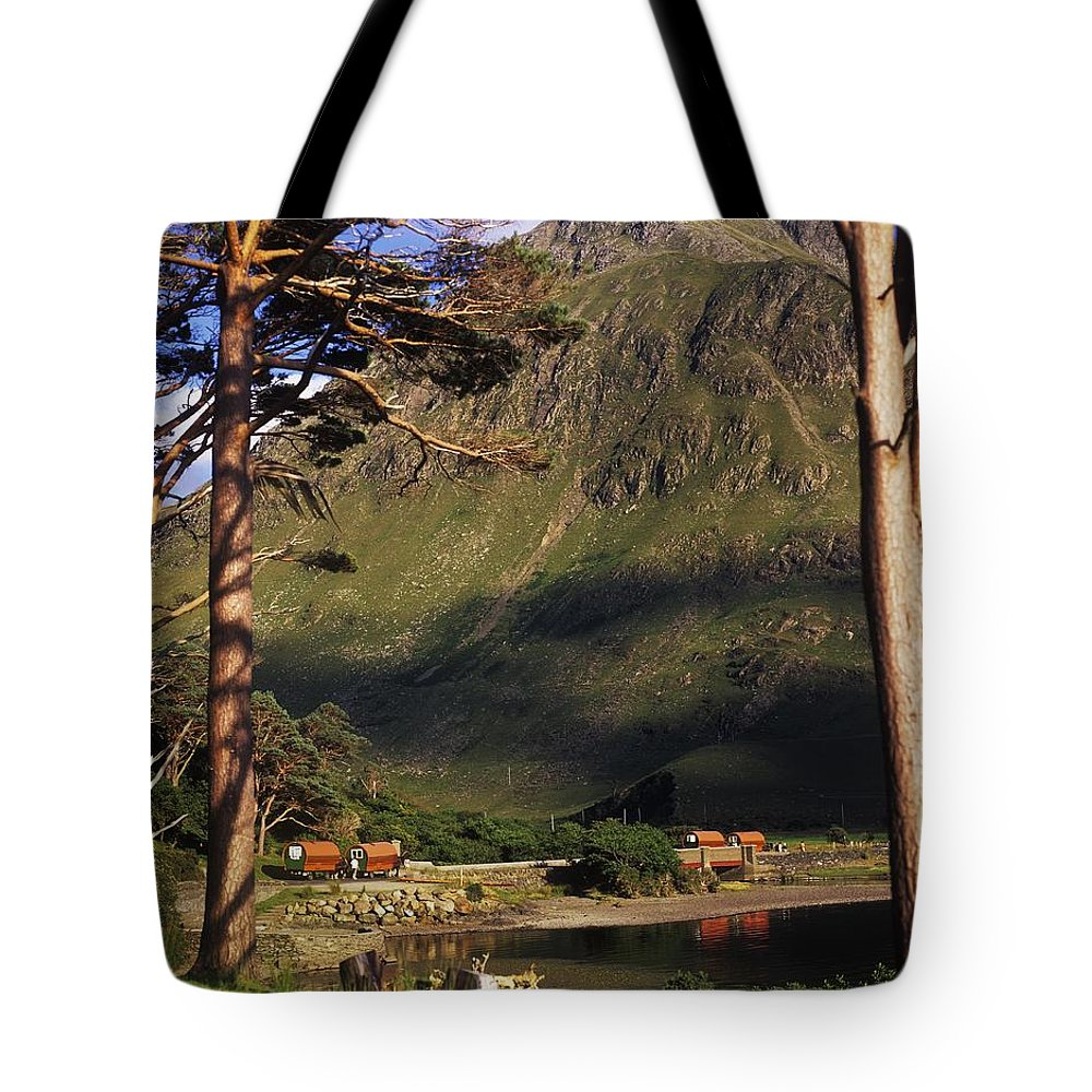 Co Mayo Tote Bag featuring the photograph Mobile Homes At A Lakeside In Front Of by The Irish Image Collection