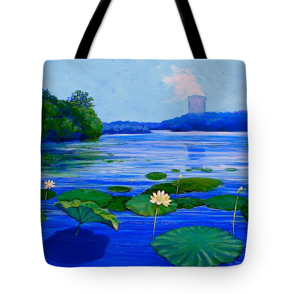 Waterlilies Tote Bag featuring the painting Modern Mississippi Landscape by Jeanette Jarmon
