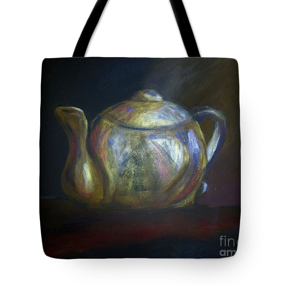 Tea Tote Bag featuring the pastel Mom's Teapot - Alice by AE Hansen