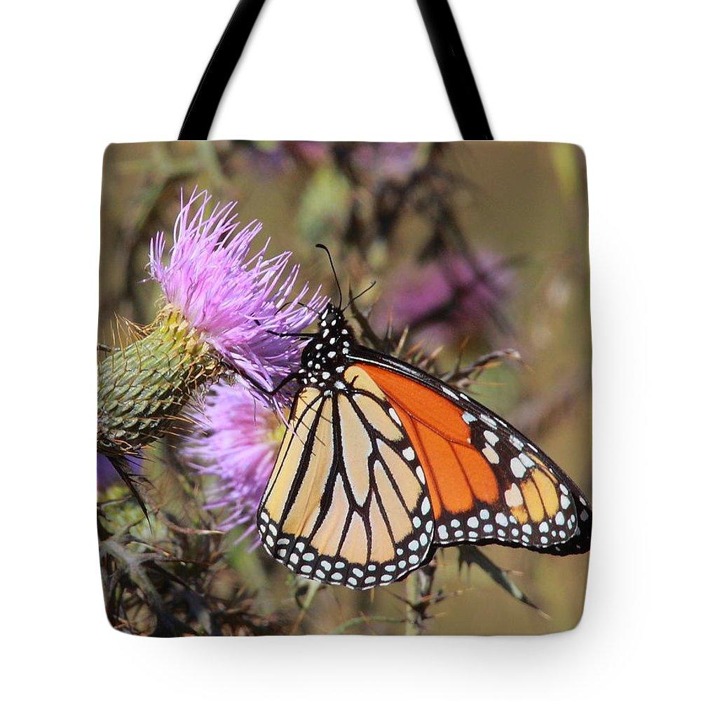 Butterfly Tote Bag featuring the photograph Monarch On Thistle II by Bruce J Robinson