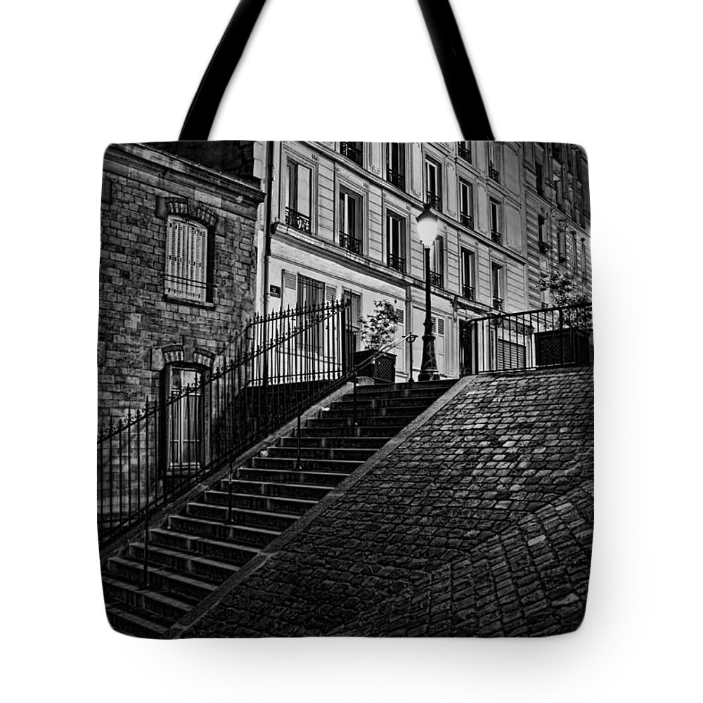 Montmartre After Dark Tote Bag featuring the photograph Montmartre After Dark by Wes and Dotty Weber
