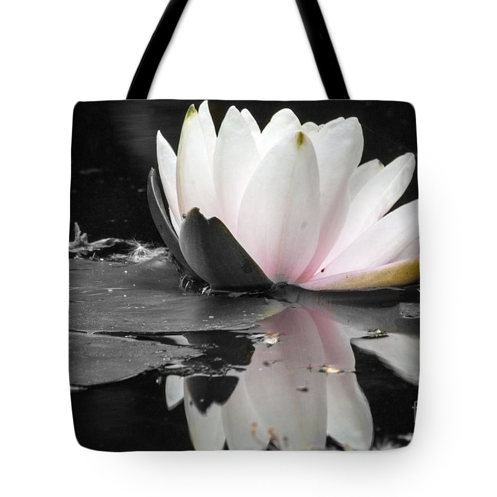 Waterlily Tote Bag featuring the photograph Monochrome Lily by Darleen Stry