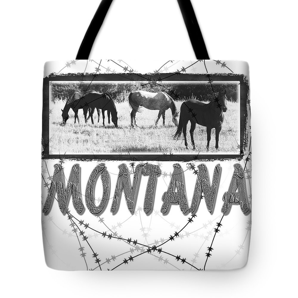 Montana Art Tote Bag featuring the digital art Montana Horse Design by Susan Kinney