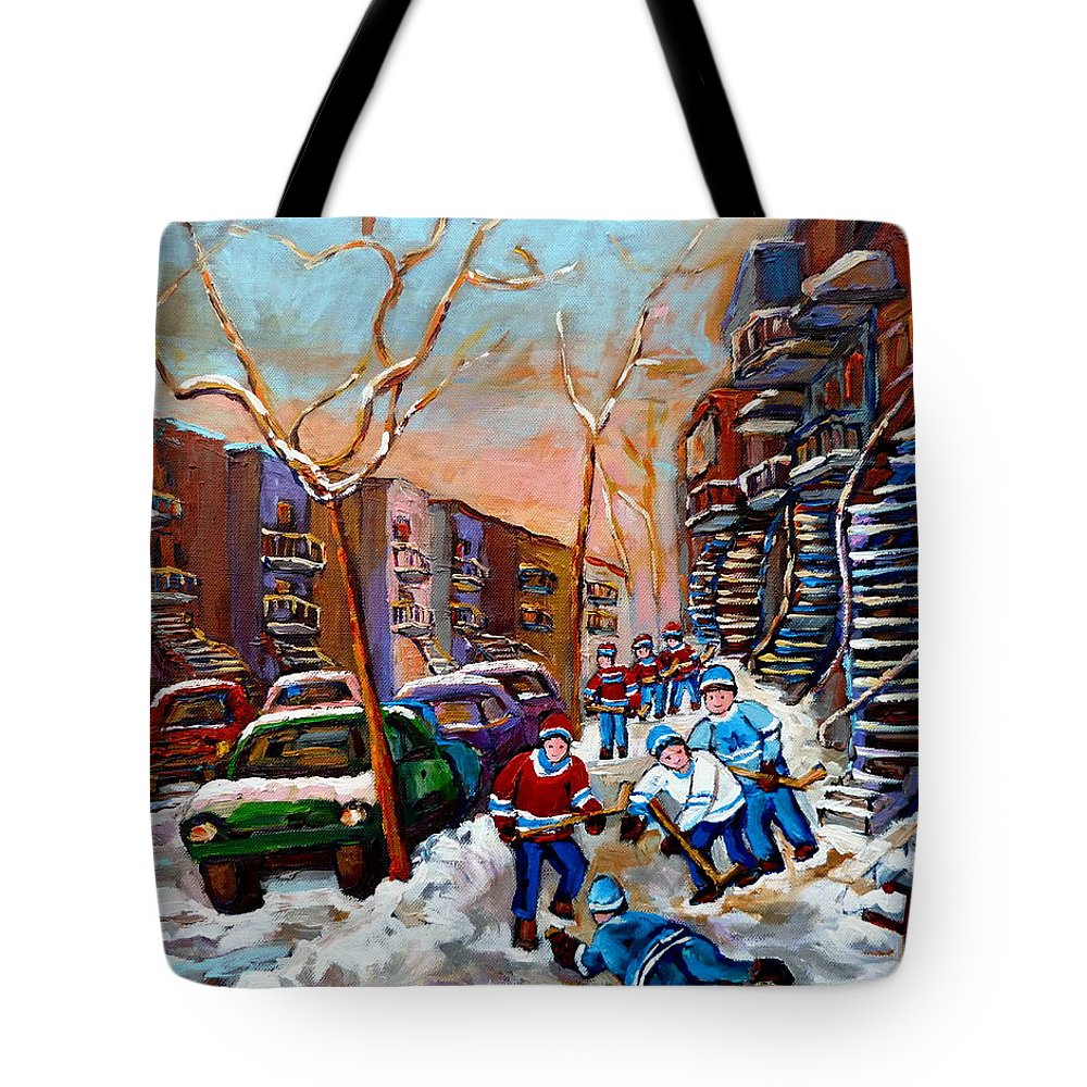 Montreal Tote Bag featuring the painting Montreal Hockey Paintings by Carole Spandau