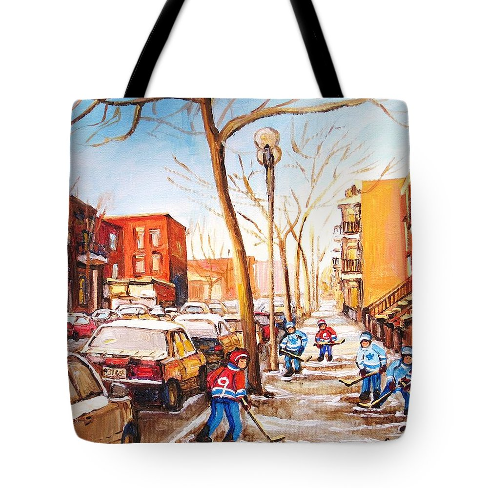 Montreal Street Scene With Boys Playing Hockey Tote Bag featuring the painting Montreal Street With Six Boys Playing Hockey by Carole Spandau