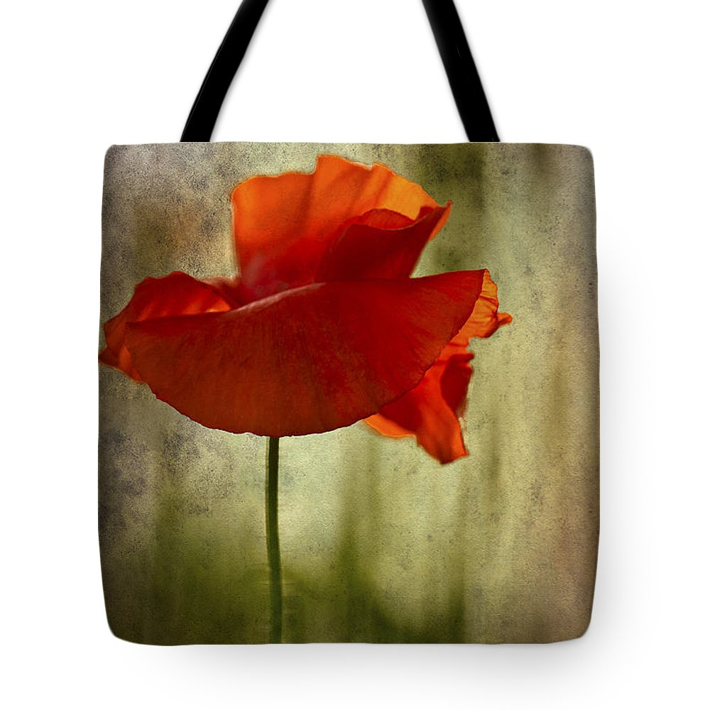 Poppy Tote Bag featuring the photograph Moody Poppy. by Clare Bambers - Bambers Images