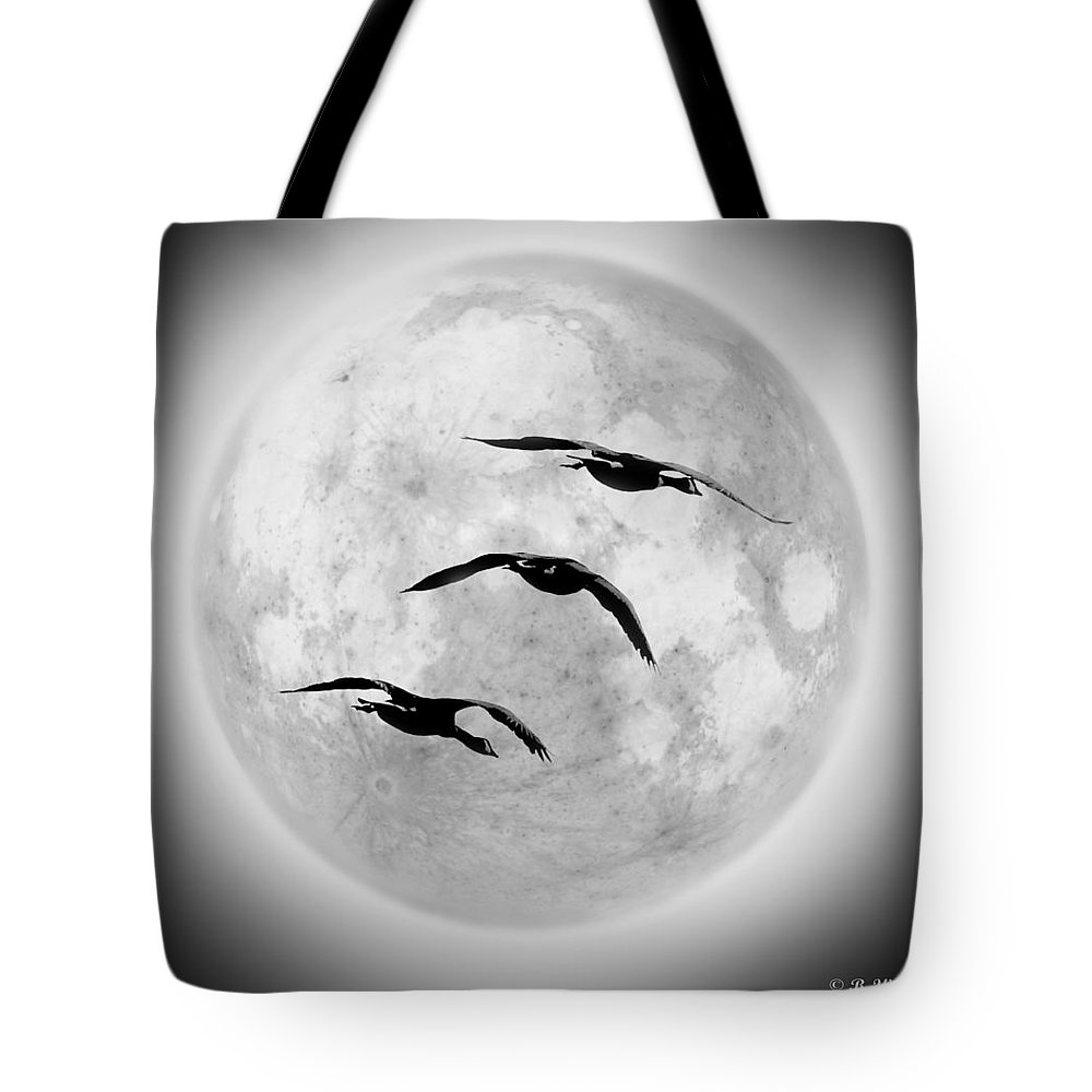 2d Tote Bag featuring the photograph Moon Geese by Brian Wallace