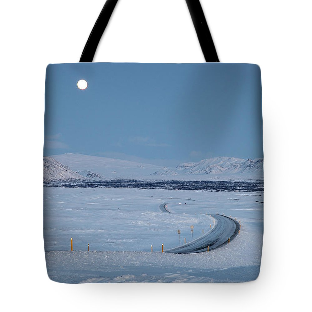 Iceland Tote Bag featuring the photograph Moon by Milena Boeva