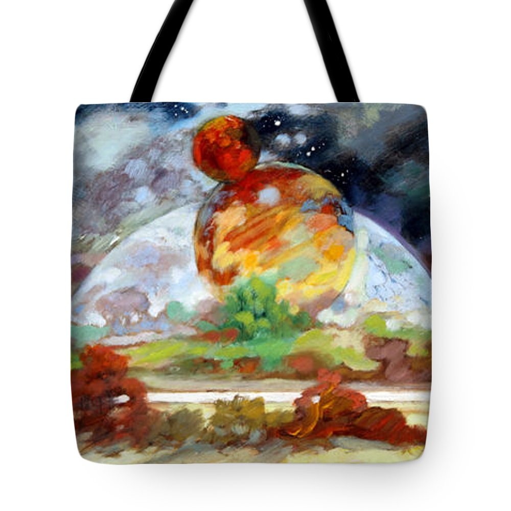 Moon Tote Bag featuring the painting Moon Over New Planet by John Lautermilch