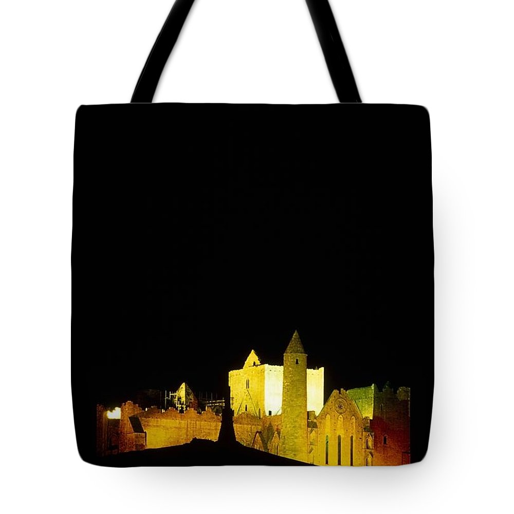 Cashel Town Tote Bag featuring the photograph Moon Over Rock Of Cashel, Co Tipperary by The Irish Image Collection