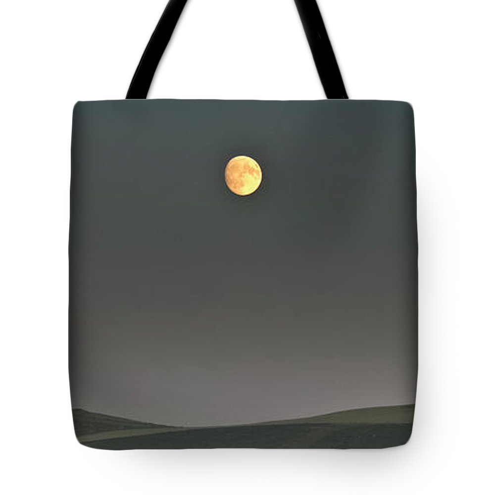After Dark Tote Bag featuring the photograph Moon Over The Palouse by Albert Seger