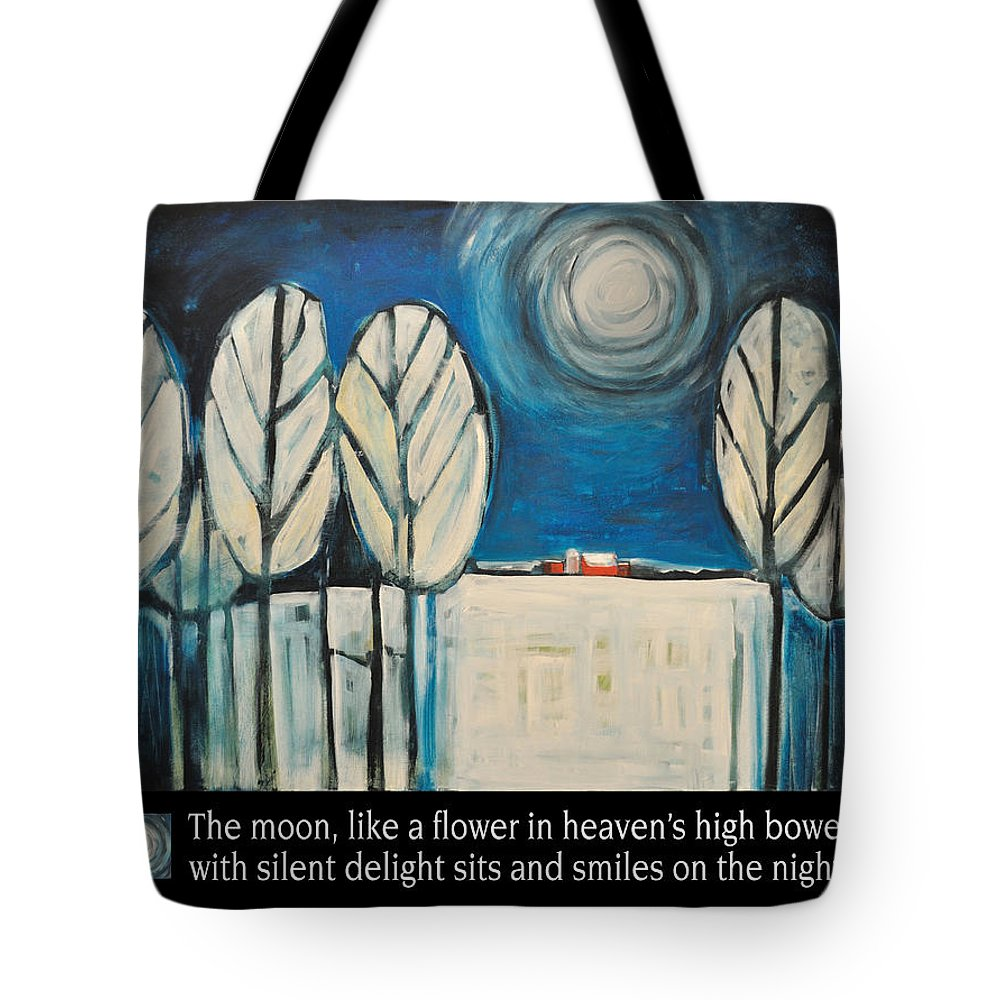 Moon Tote Bag featuring the painting Moon Quote Poster by Tim Nyberg