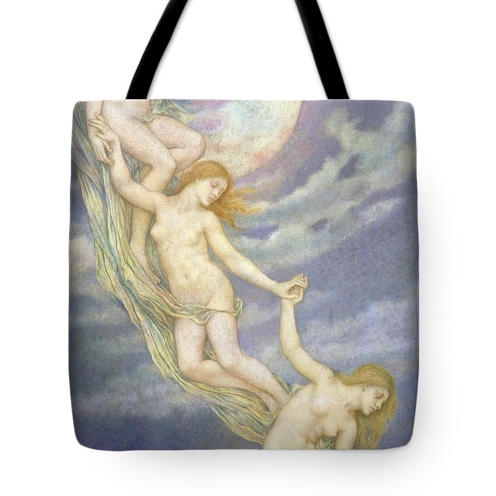 Moonbeam; Moon; Beams; Female; Nude; Drapery; Nocturne; Allegorical; Pre-raphaelite; Chain Tote Bag featuring the painting Moonbeams Dipping Into The Sea by Evelyn De Morgan