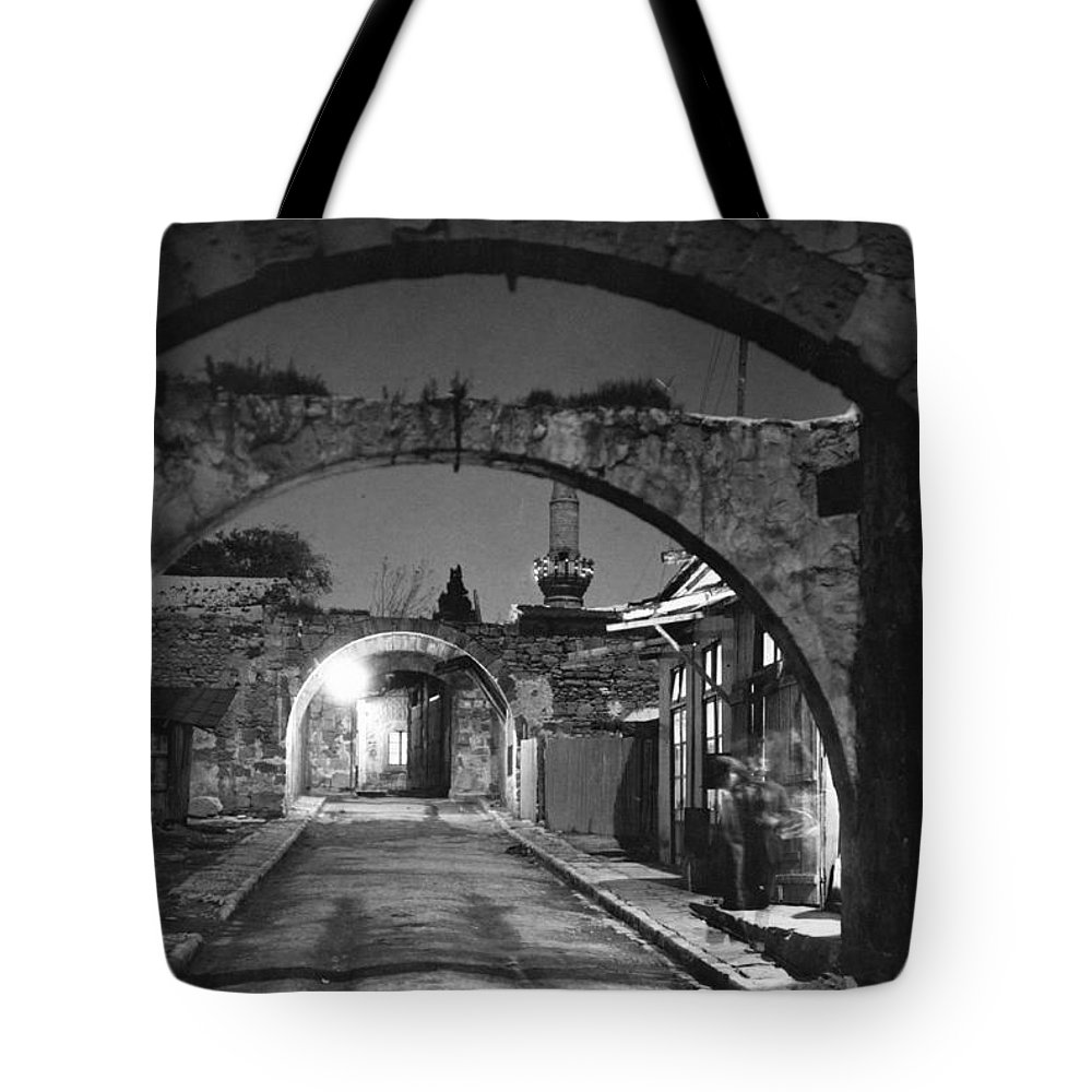 limassol Tote Bag featuring the photograph Moonlight View Of Market Street, Odos by W. Robert Moore