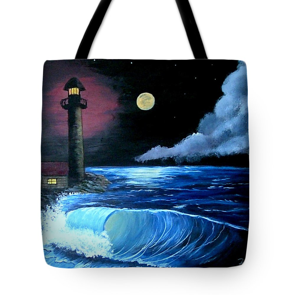 Landscape--seascape Tote Bag featuring the painting Moonlit Ocean by Fram Cama