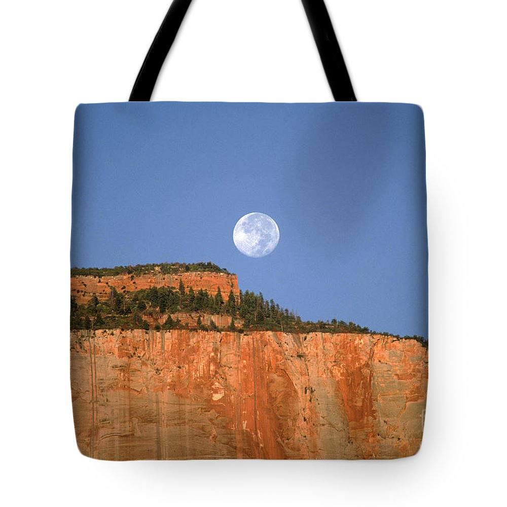 Zion National Park Tote Bag featuring the photograph Moonrise Over East Temple - Zion by Sandra Bronstein