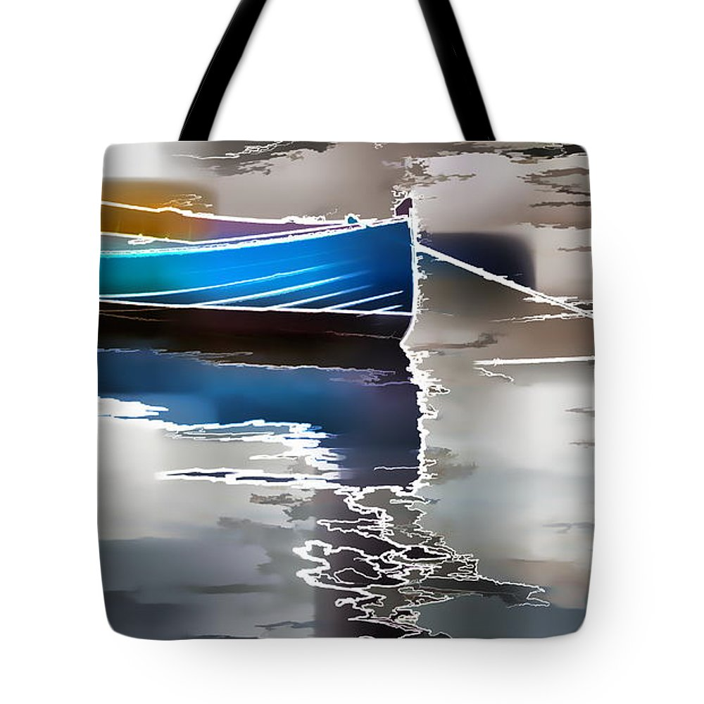 Boat Moored Water Tote Bag featuring the photograph Moored by Alice Gipson