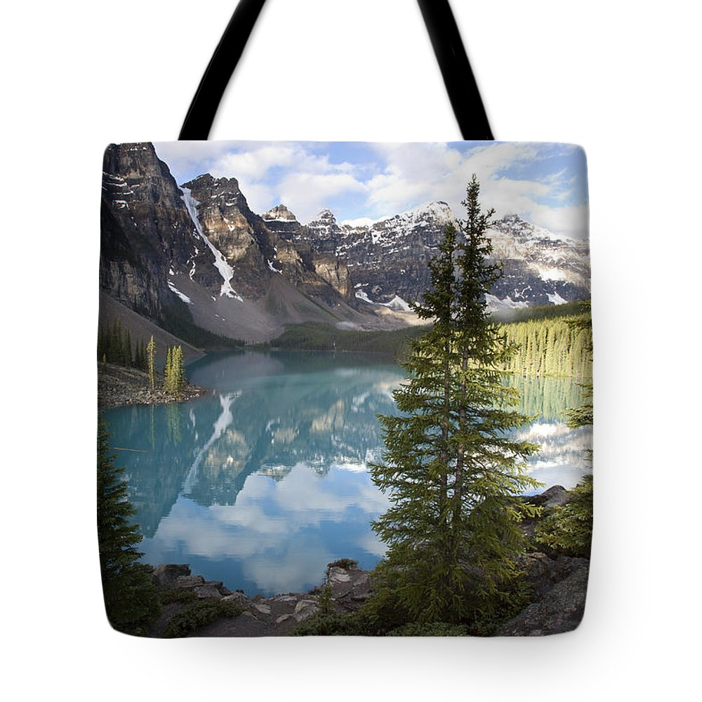 Mp Tote Bag featuring the photograph Moraine Lake In The Valley Of The Ten by Matthias Breiter